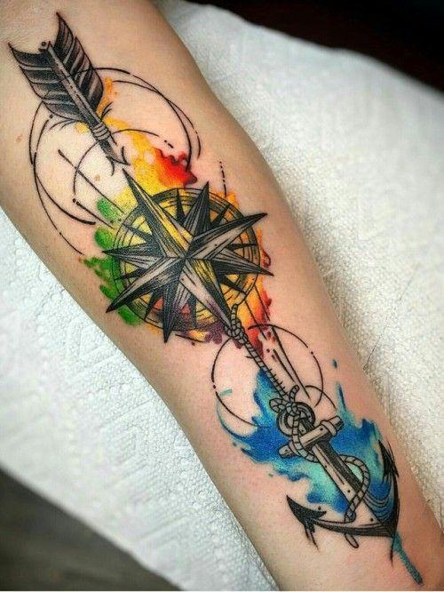 акварельне татуювання компаса