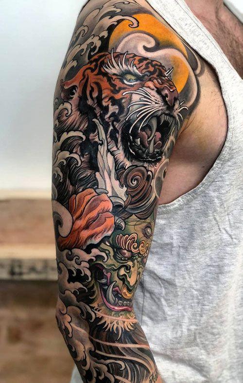 тату японського тигра на руці