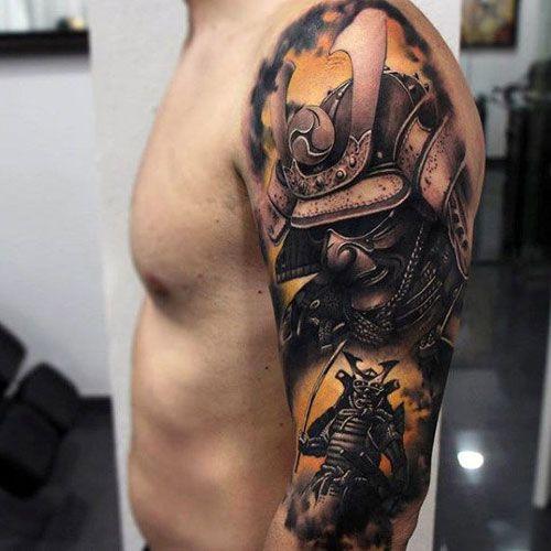 тату самурая на руке