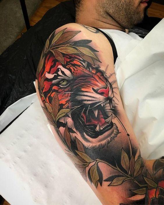 тату тигра для мужчин в японском стиле