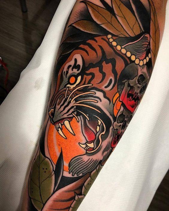 тату тигра в японському стилі