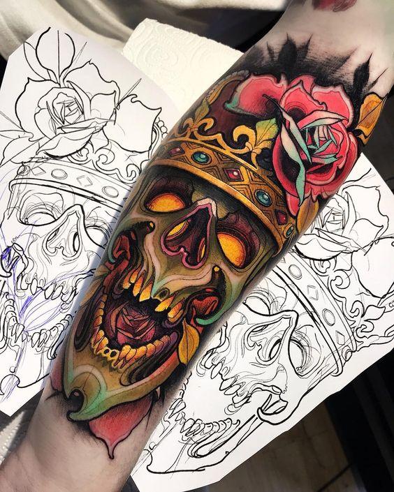 череп в японском стиле тату