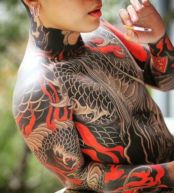 татуировка в японском стиле для мужчин на все тело