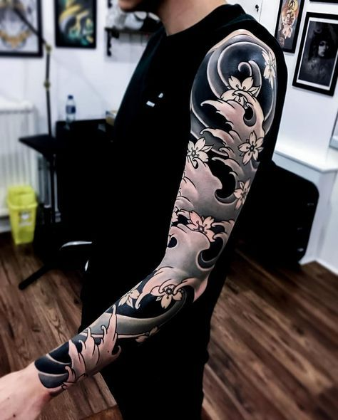 тату хвиль на руці в японському стилі