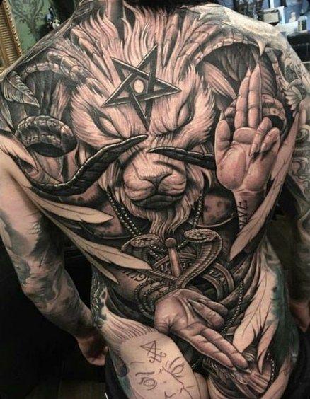 демонічний дизайн тату на спині