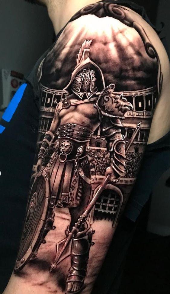 стильное тату на плече
