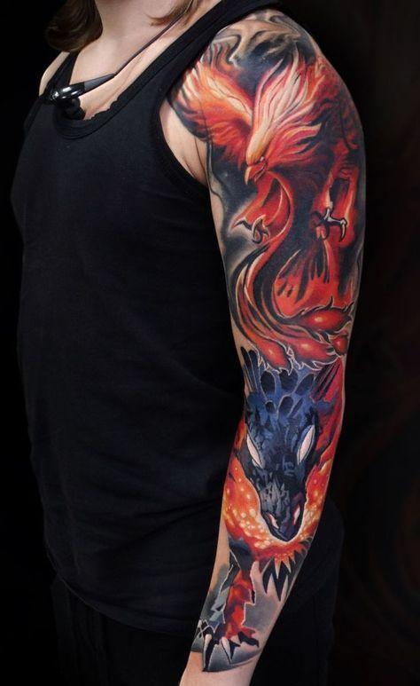 тату фенікса і дракона на руці