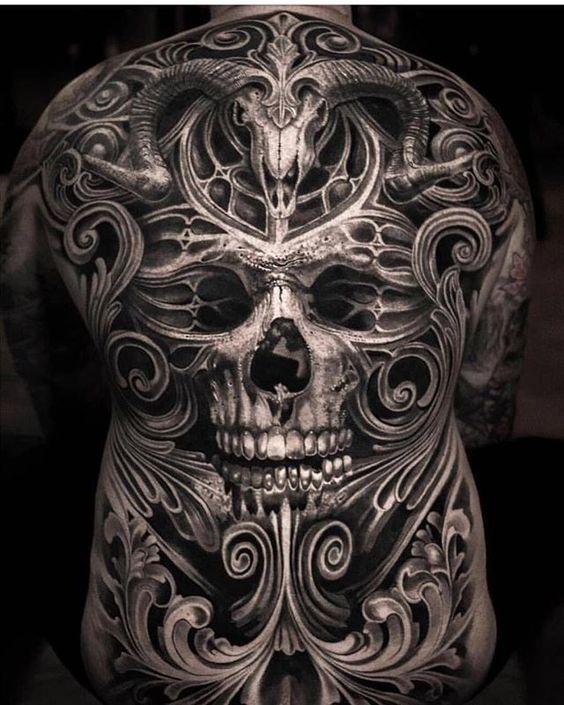 татуювання черепа для чоловіків на всю спину