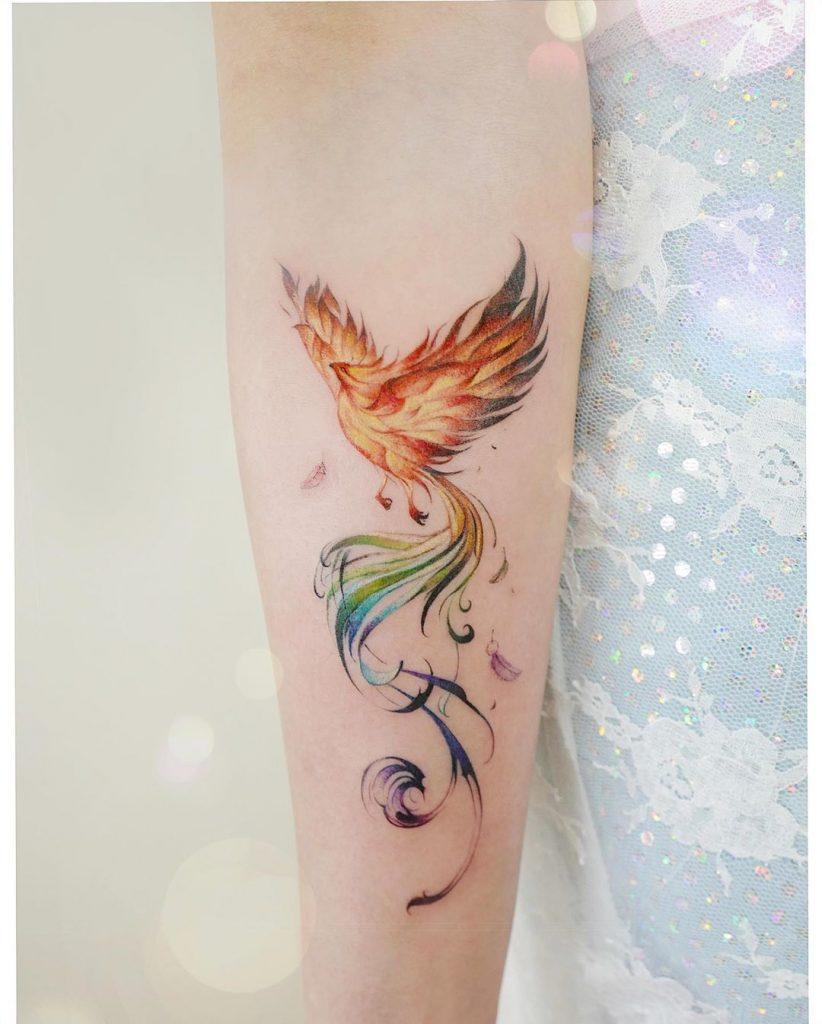 татуювання акварельного фенікса