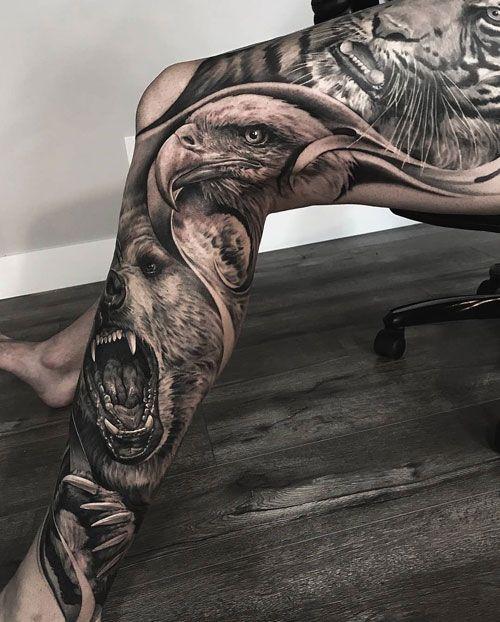 татуювання тварин на нозі для чоловіків