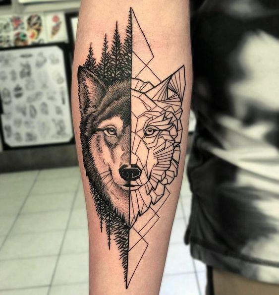 тату вовка в геометричному стилі