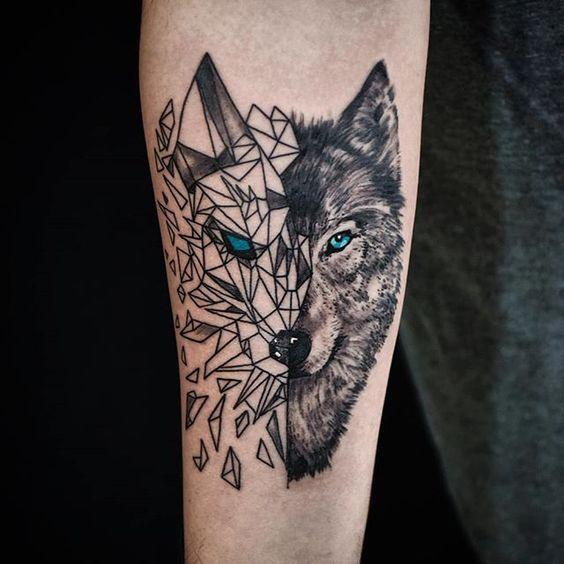волк в геометрическом стиле