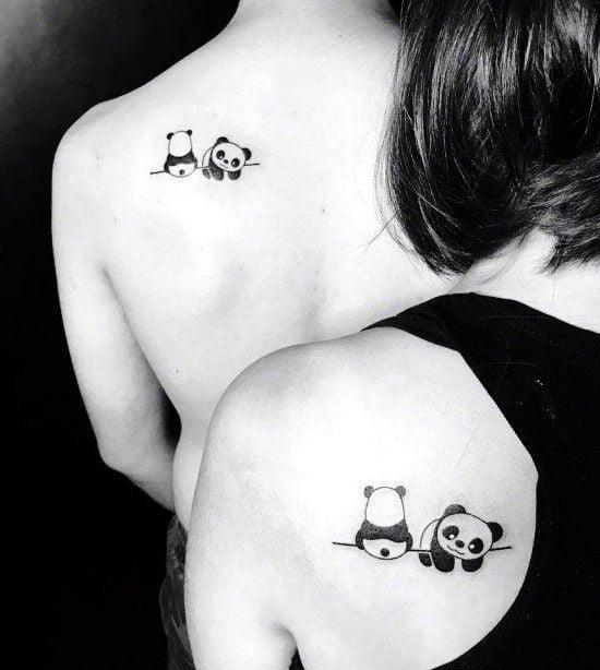 парная татуировка панд