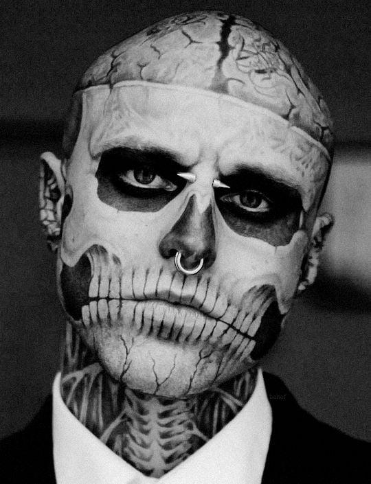 тату черепа на лице