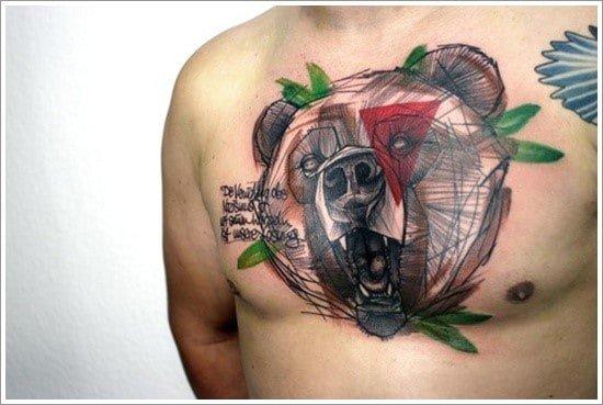 акварельная татуировка медведя