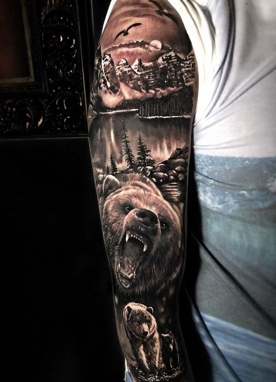 мужской рукав с медведем