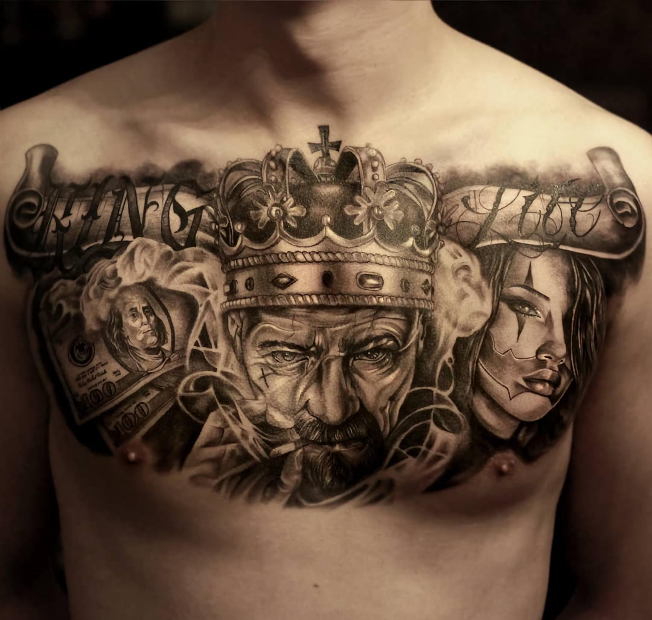 татуировка портретов стиле чикано на груди