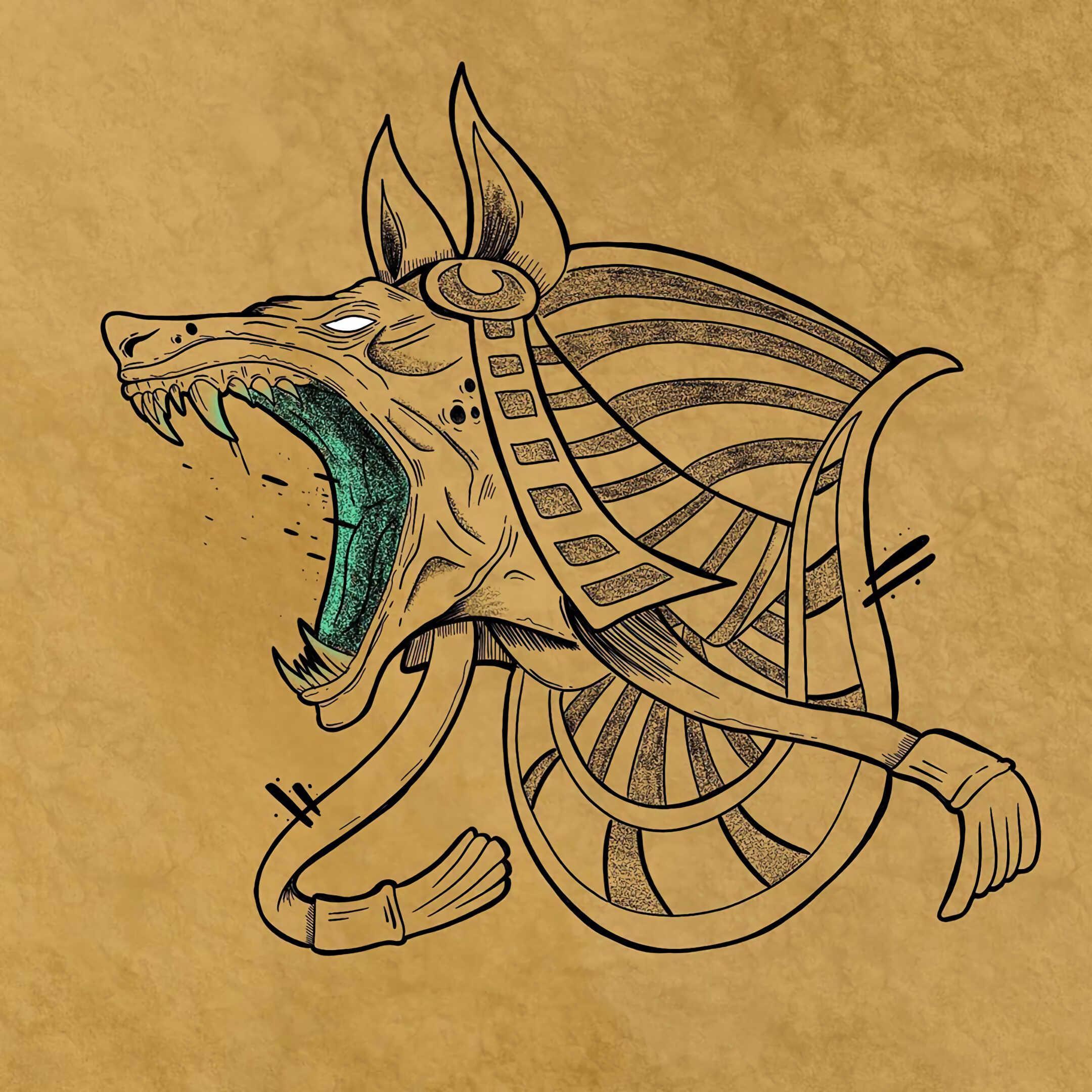 эскиз татуировки Анубис