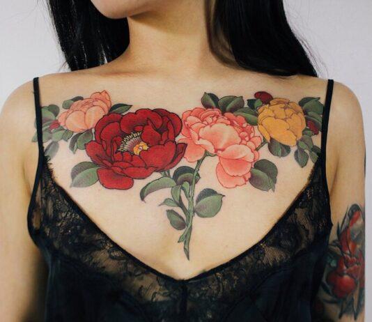 лучшие татуировки пионов для девушек
