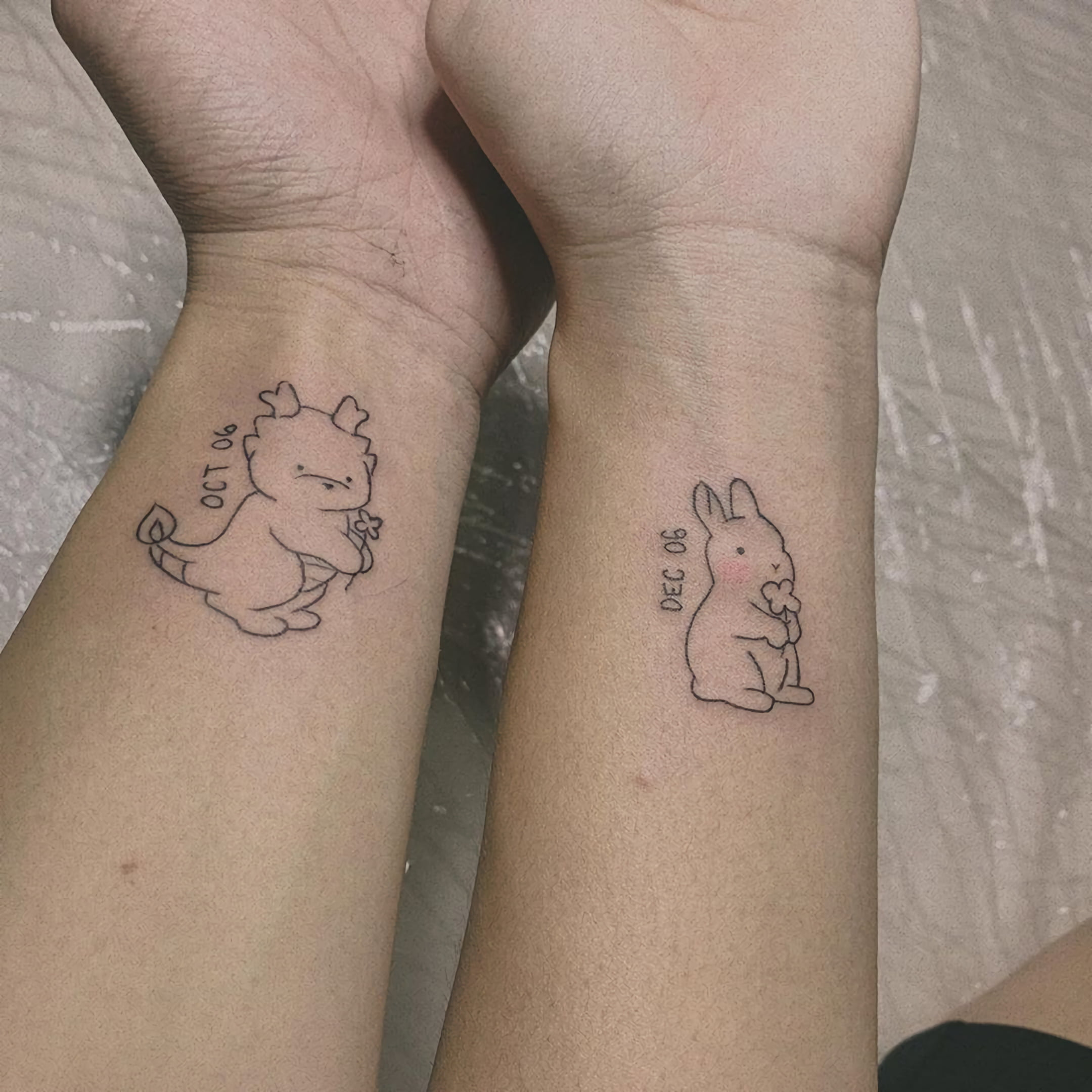 парные татуировки в стиле Дисней