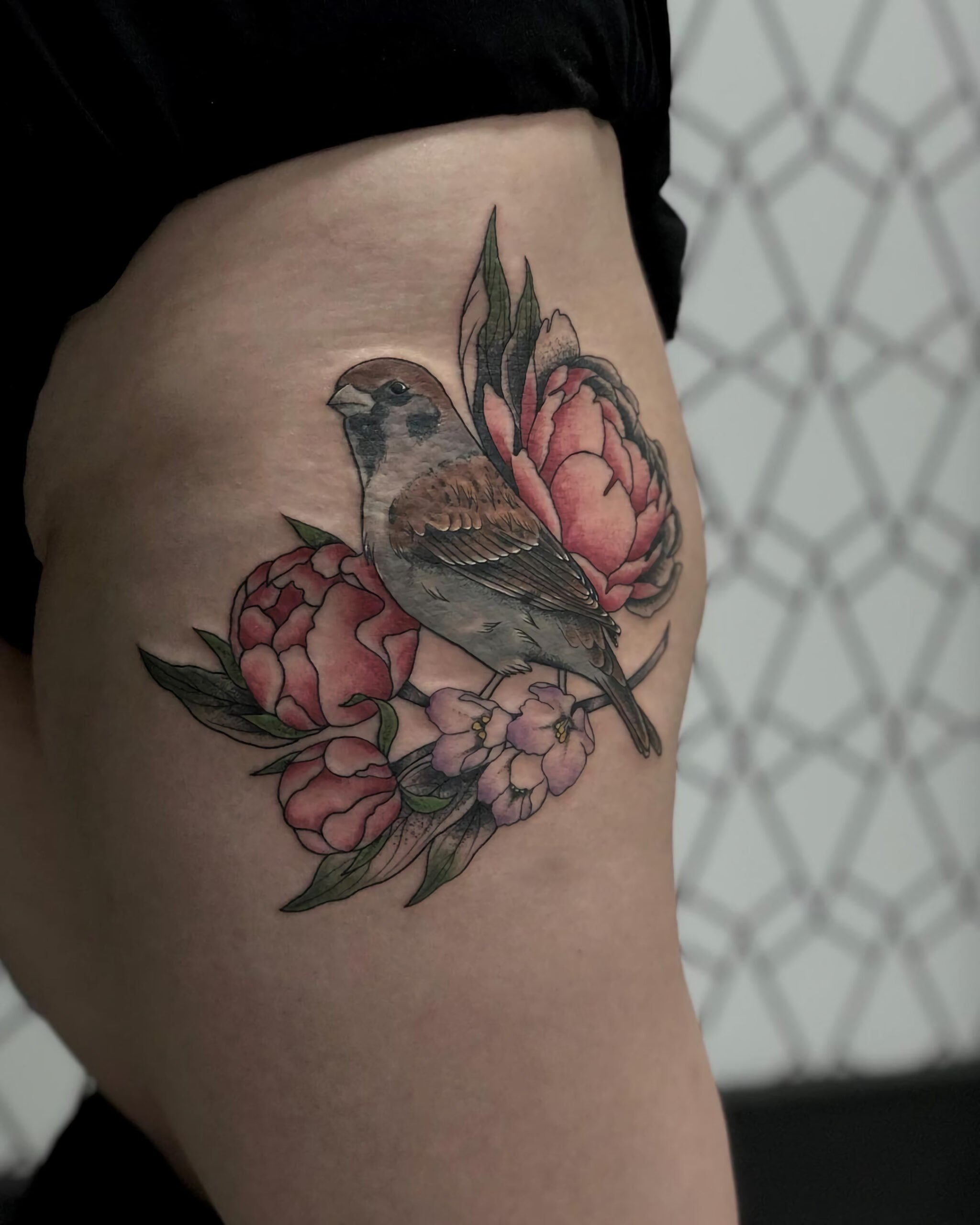 Татуировка ласточки на бедре