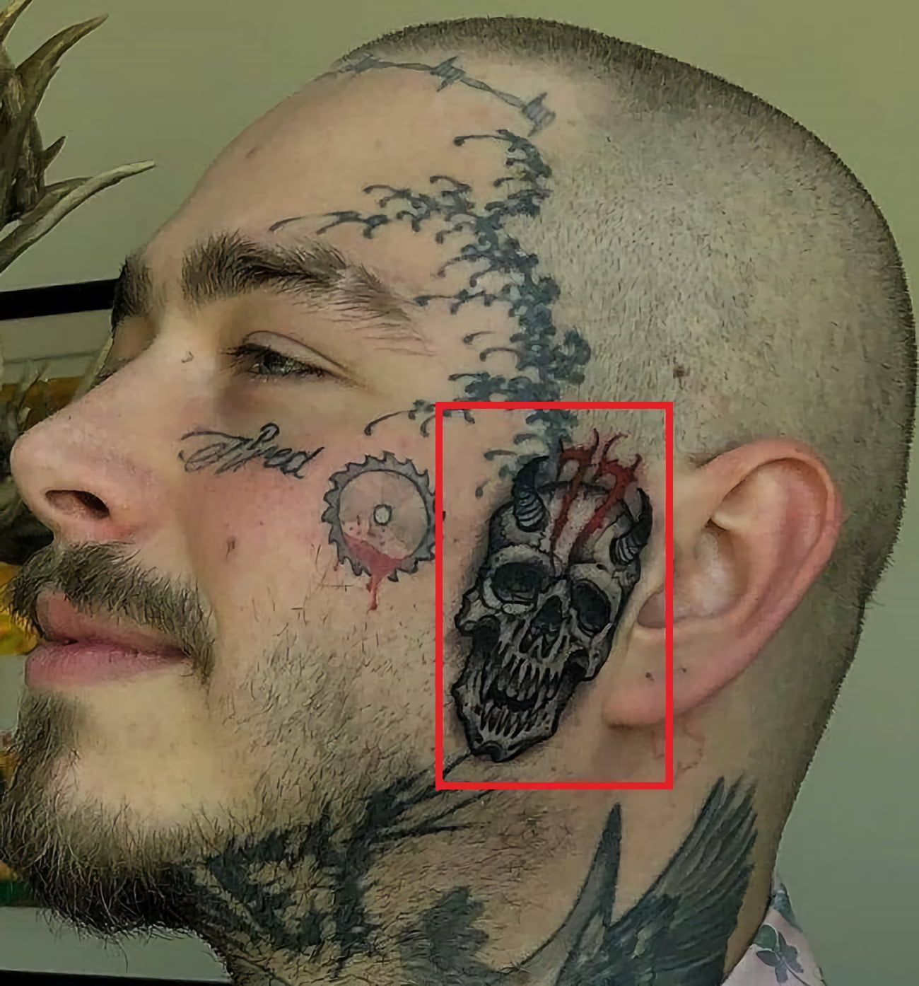 Татуировка черепа на левой стороне лица