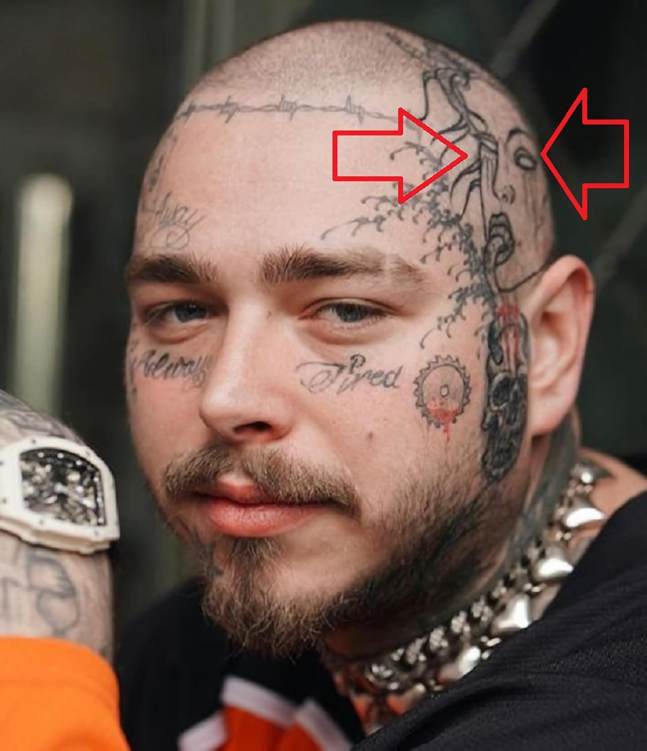 Татуировка на левой стороне головы.