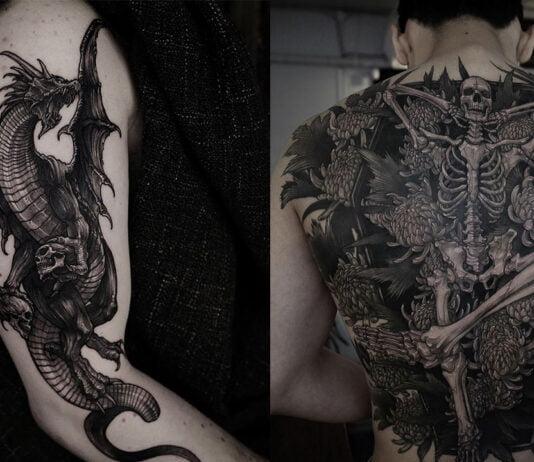 черно - серый стиль татуировок