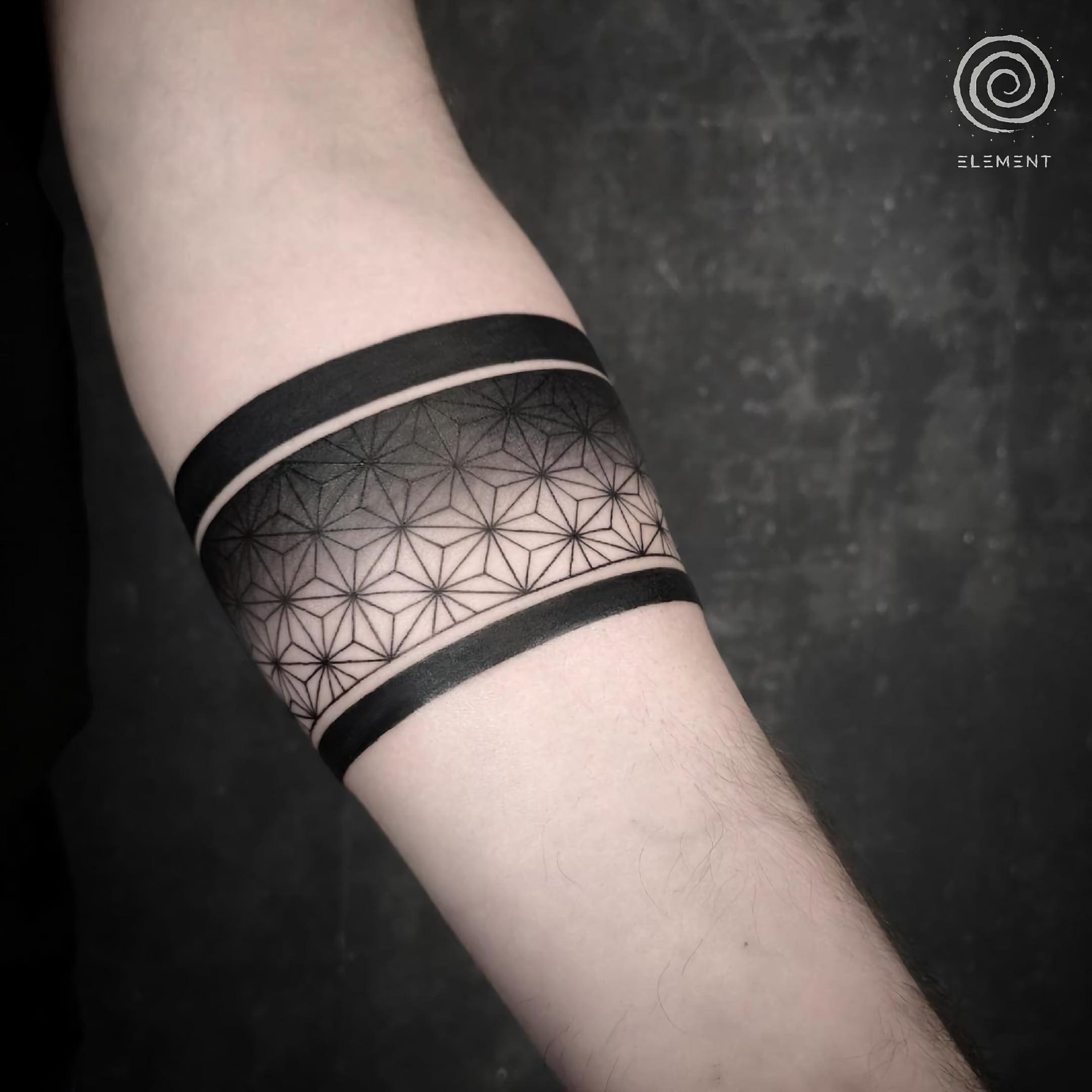 Современная таутировка с черной полосой на руке
