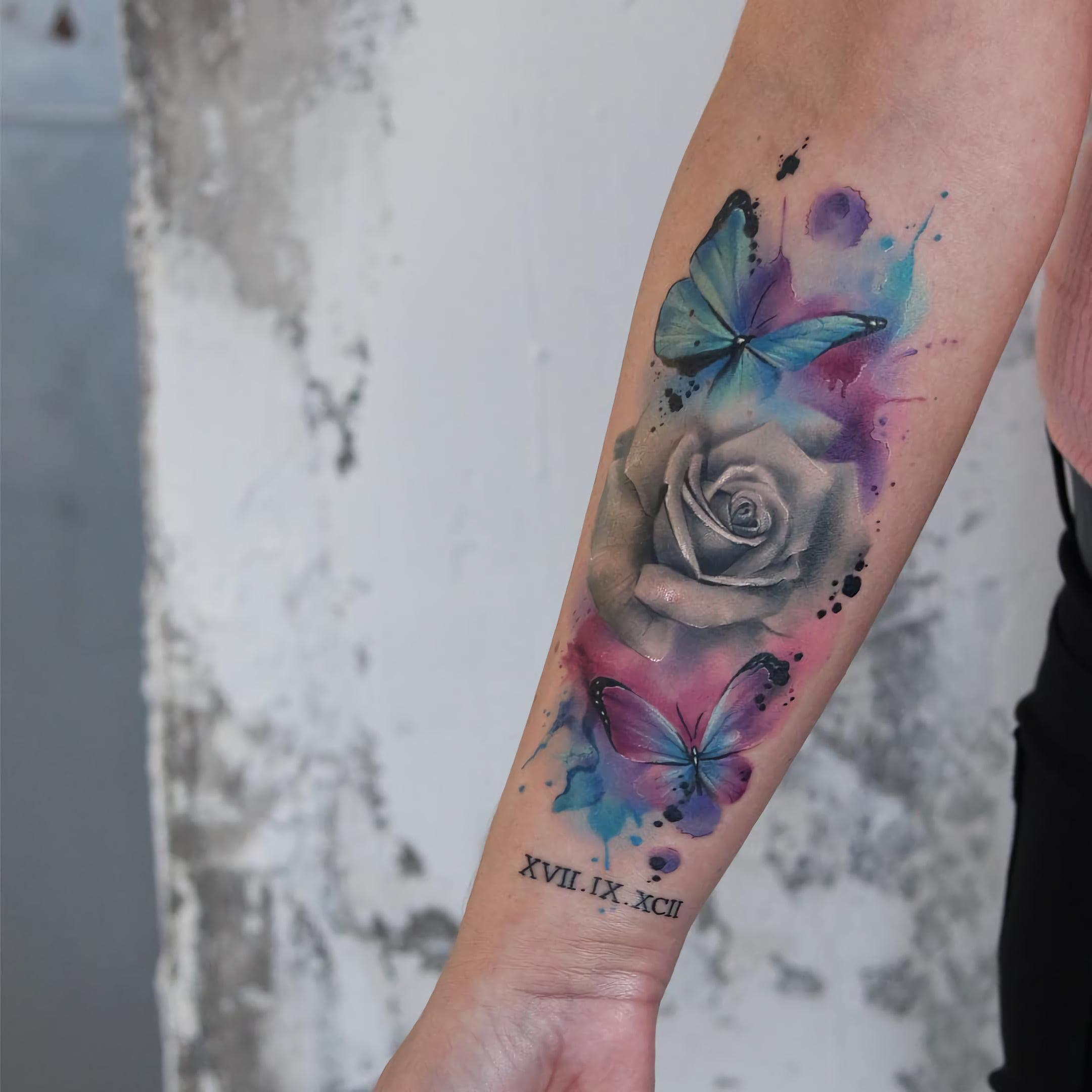 Татуировка цветок розы