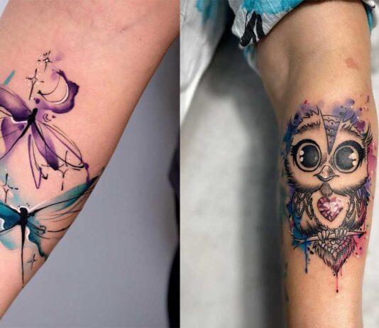 яркие акварельные татуировки для девушек