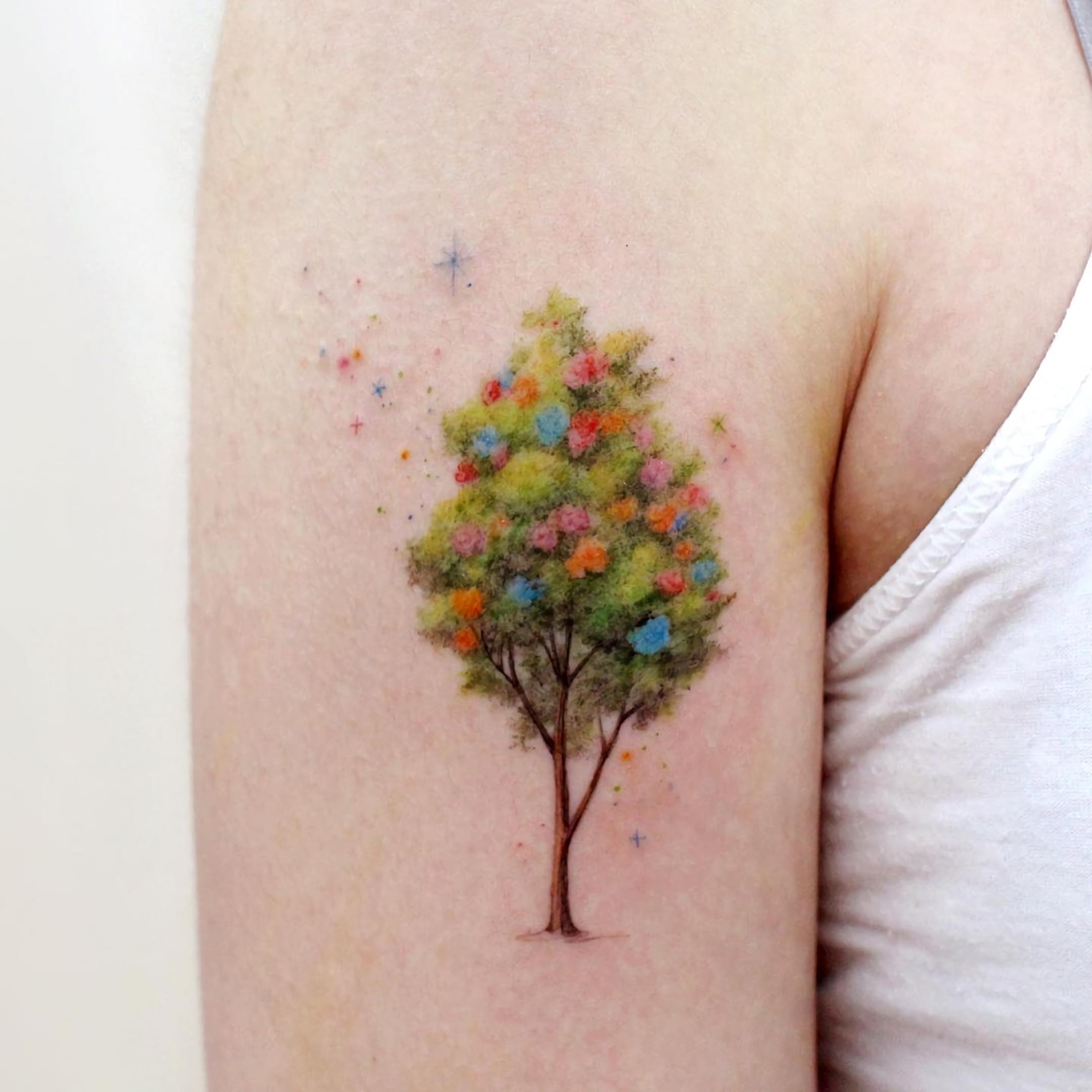 Татуировка полу рукава с деревом