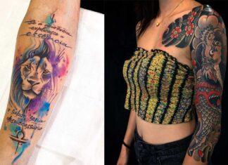 стильные татуировки полу рукава для девушек