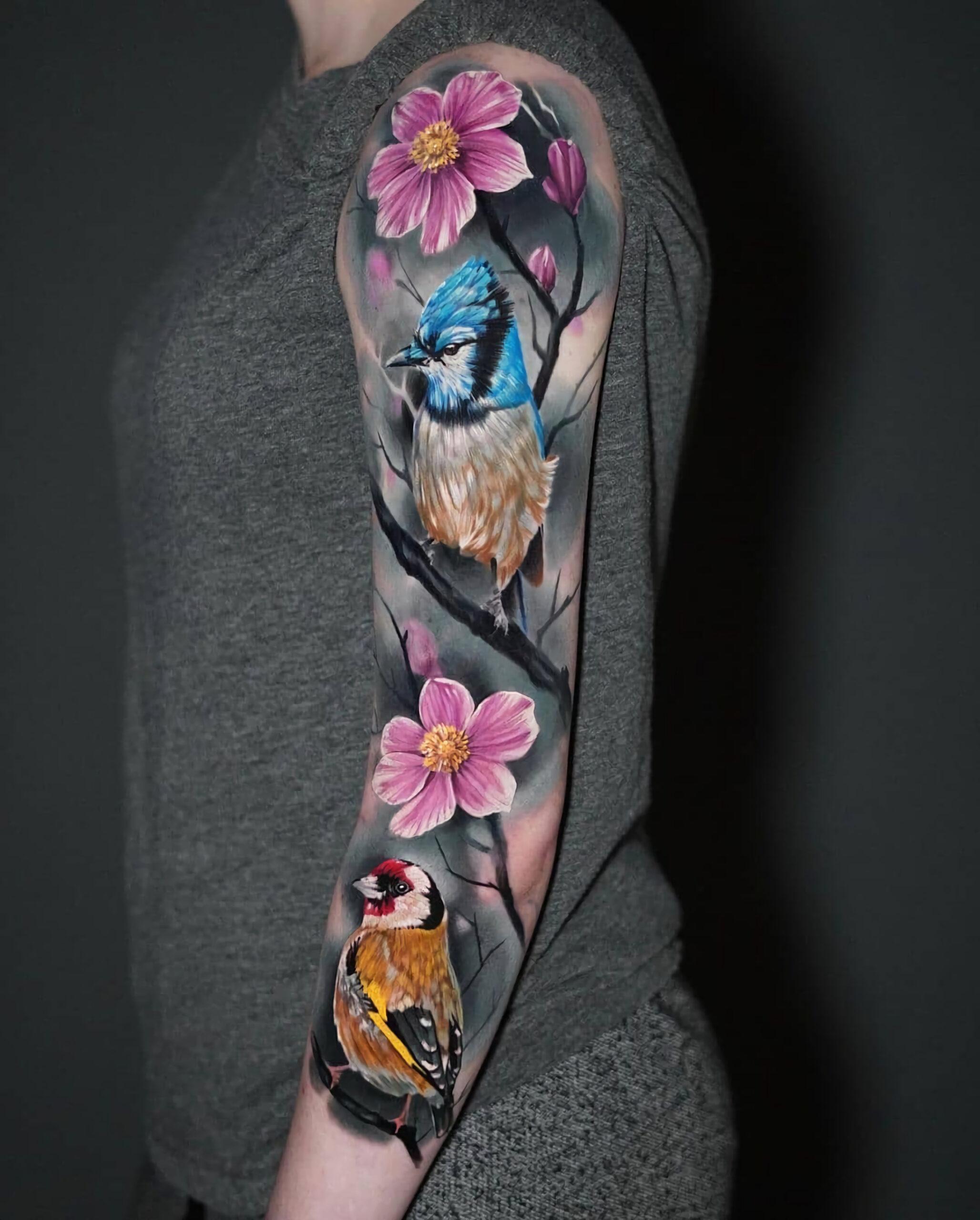 татуировка рукава с птицами